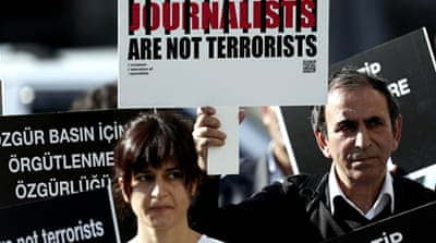 Turkey topped the list of worst jailers with 40 journalists imprisoned in 2013, down from 49 the year before [EPA]