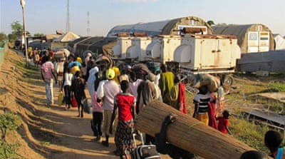The conflict in South Sudan has forced thousands to take shelter in UN compounds EPA]