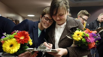 A string of improvised weddings were held in Salt Lake City after the ruling [Reuters]