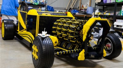 The car is made from 500,000 Lego pieces and has a top speed of 30km per hour [Josh Rowe]