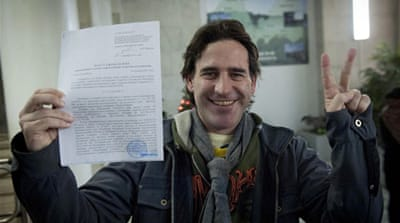 Activist Miguel Hernan Perez Orsi of Argentina was one of the 30 freed [AFP/ Greenpeace/ Dmitri Sharamov]