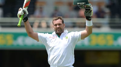 Jacques Kallis plays a shot in what is his final Test match for South Africa, against India in Johannesburg  [Reuters]