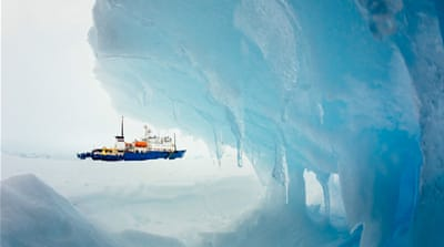 The MV Akademik Shokalskiy has been trapped in thick Antarctic ice since Christmas Eve. [AFP]