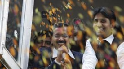 The Aam Admi Party has emerged as the second-largest party in Delhi with 28 seats [EPA]