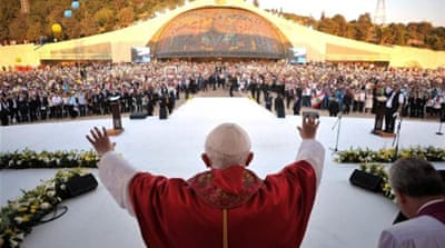 Pope Benedict XVI asked worshippers to 'keep praying for me, for the church and for the future pope' [AFP]