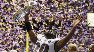 Ravens quarterback Joe Flacco, who threw three first-half touchdown passes, was voted the game's MVP [Reuters]