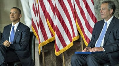 President Obama and House Speaker John Boehner remain divided on the issue of budget cuts [AFP]