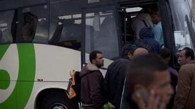 Rights groups have criticised Israel's launch of Palestinian-only buses to bring day labourers to Israel [AP]