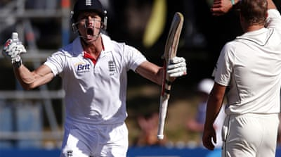 Compton reached his second century in Tests only five days after his first, then was out for exactly 100 [Reuters]