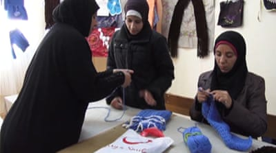Syria's women refugees market handicrafts