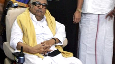 Karunanidhi said 'if we continue to remain in the government, it will be the most harmful to Tamil people' [EPA]