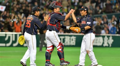 Japan had to rally from a 3-2 deficit with three runs in the top of the eighth innings against Brazil at the Fukuoka Dome [AFP]
