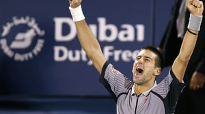 The win gives Djokovic a fourth Dubai Championships title in five years as the world number one remains unbeaten since October [Reuters]