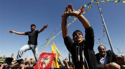 Demonstrators attend a gathering to celebrate Newroz in Diyarbakir, Turkey [Reuters]