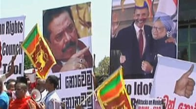 Sri Lankans protest UN war crimes resolution
