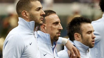 Benzema (C) has not scored in 11 games for France, and his last goal was in June 2012 [Reuters]