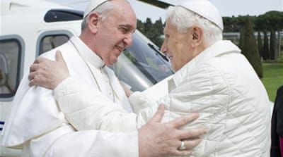 """We are brothers, we pray together,"" Pope Francis said to Benedict, the papal spokesperson said [AFP]"