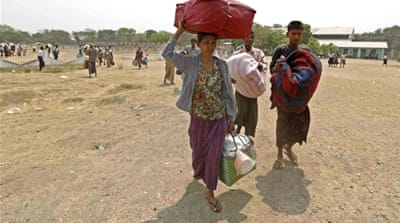 The UN says that more than 12,000 people were displaced in the violence in the city of Meikhtila [EPA]