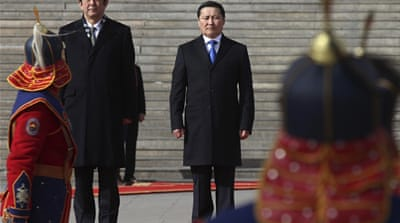 Abe discussed North Korea's nuclear programme with Mongolian President Tsakhia Elbegdorj on Saturday [AFP]