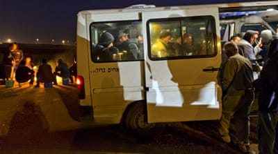 Palestinian labourers use the buses to travel from the West Bank into Israel for work [EPA]