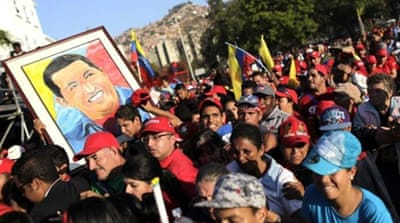 Some Venezuelans lined up for more than 16 hours to catch a brief glimpse of Chavez's coffin [EPA]