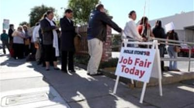 The unemployment rate in the US is still more than three full percentage points above its pre-recession level [AP]