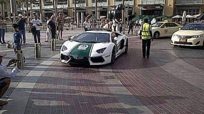 Dubai is the latest police force to add a Lamborghini sports car to its fleet, following Italy, Qatar and the UK [AFP]