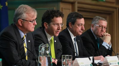 Eurogroup chief Jeroen Dijsselbloem, second left, said extension was meant to ease pressure on both countries [AFP]