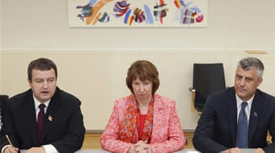Catherine Ashton, centre, said  Serbian PM, left, and his Kosovan counterpart initialled the deal in Brussels [Reuters]