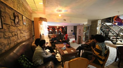 Taysir al-Sharki turned a stone house in southern Sanaa into a vibrant art gallery and cafe [Gaar Adams/Al Jazeera]