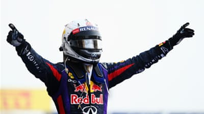 Red Bull's Vettel passed racing legend Jackie Stewart on the all-time winning list, notching up his 28th Grand Prix win [EPA]