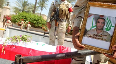 Funeral was held on Sunday for five soldiers slain after the deaths of 170 protesters at the hands of security forces