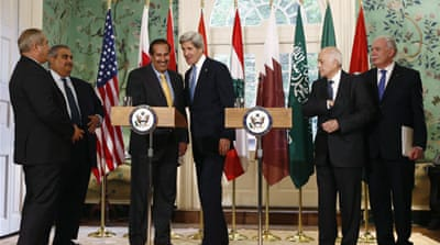 US Secretary of State John Kerry looks down the table as he meets with members of the Arab League [Reuters]