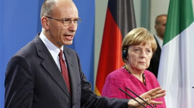 Letta's visit to Berlin for talks with Merkel marked his first official trip abroad [Reuters]