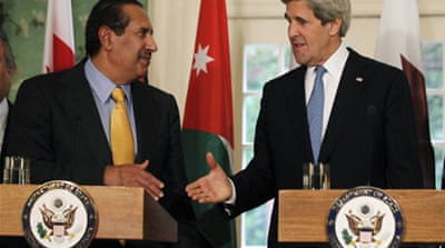 US Secretary of State John Kerry met members of the Arab League to discuss Israeli-Palestinian peace [Reuters]