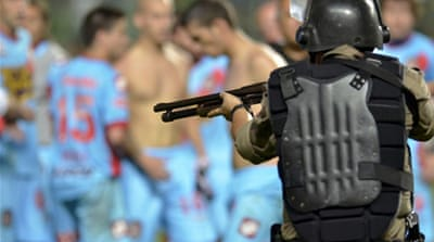 Clashes broke out between members of the Argentine team and Brazilian military police at the end of Wednesday's match [AFP]