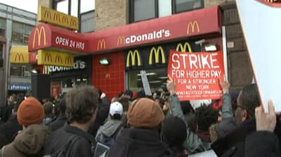 NYC fast-food workers strike for better pay