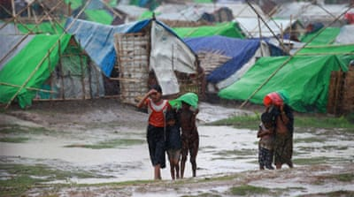 Thousands of people have been moved from low-lying camps to safer shelter ahead of Cyclone Mahasen [AFP]