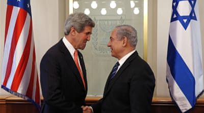 Kerry is due to hold separate talks on Thursday with Netanyahu, right, and Palestinian officials [Reuters]