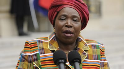 Nkosazana Dlamini-Zuma is in Harare to assess progress on preparations for the forthcoming elections [EPA]