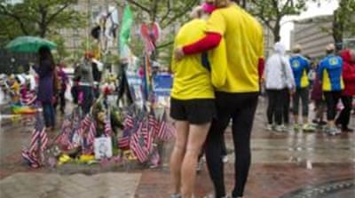 Boston Marathon runners finish race