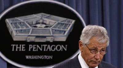 Hagel made his comments during a press conference at the Pentagon with his British counterpart [Reuters]