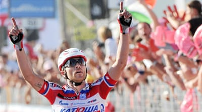 Luca Paolini attacked in the final descent of the 222-km trek from Sorrento to secure the pink jersey [EPA]
