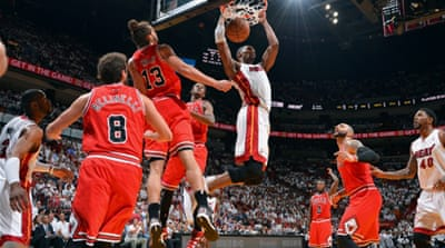 The 37-point margin was the heaviest defeat the Chicago Bulls had suffered in a playoff game and the biggest ever post-season victory margin for the Heat [AFP]