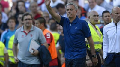 Mourinho has agreed by mutual consent to leave the club and received a mixed farewell in his final game [AFP]