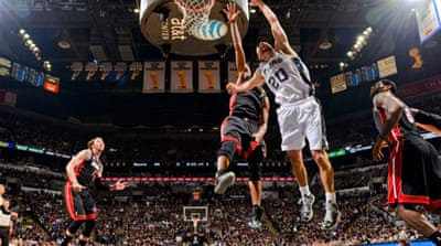 Veteran Manu Ginobili, above, and three-point specialist Danny Green led a potent attack [AFP]