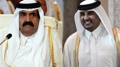 Qatar's Sheikh Hamad bin Khalifa Al Thani has handed over power to his son, Sheikh Tamim bin Hamad [EPA]
