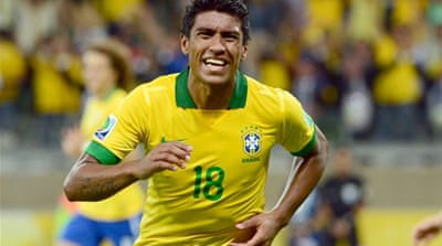 Paulinho's header sets up a final against either world champions Spain or Italy [AFP]