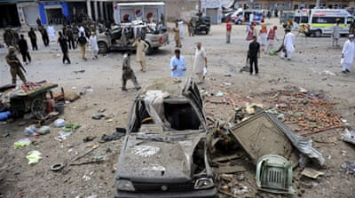 Police said a large car bomb was placed close to the Badaber police station and detonated by remote control [AFP]