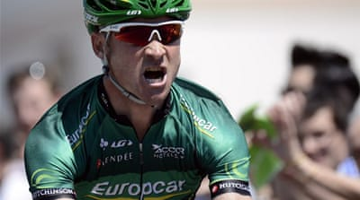 Hot work: Voeckler's win marked the first by a French rider on the Dauphine this year [AFP]
